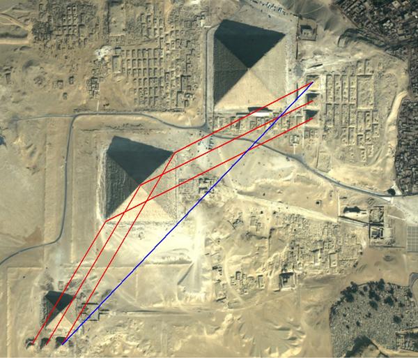 Geometry at Giza pyramids site