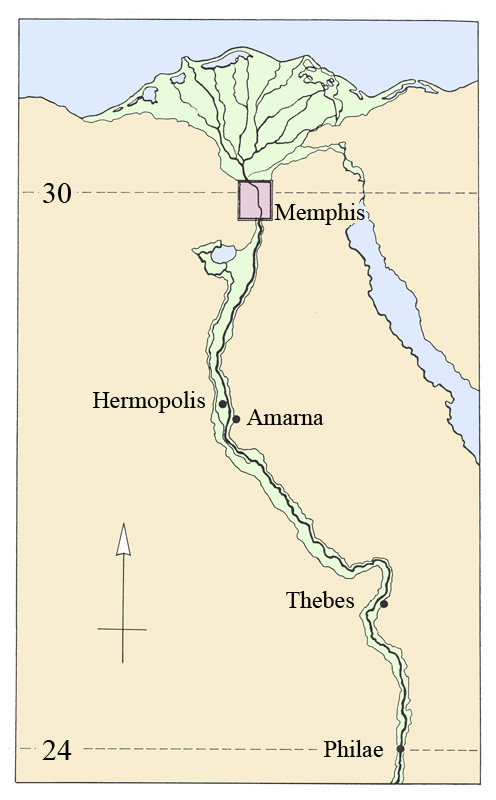 A map of the ancient Egypt