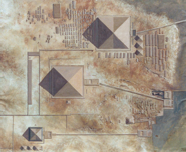 An artistic painting about the Giza pyramids complex, depicting the area from aerial view. The Horizon of Khufu.